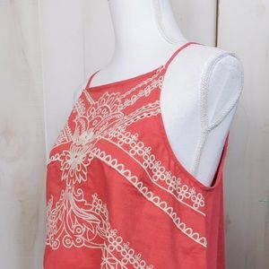 Anthropologie Tops - Vanessa Virginia Terracotta Embroidered Tank Top